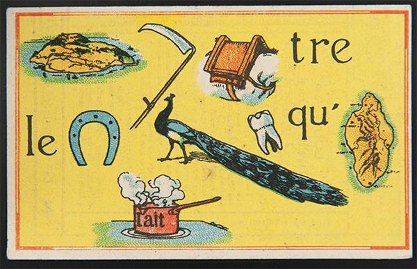 """Carte réclame rébus : """"il faut battre le fer pendant qu'il est chaud"""", fin XIXe – début XXe siècle, Paris © Mucem"""