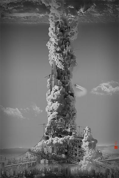 Yang Yongliang, Heavenly City - Skyscraper, 2008 © Yang Yongliang