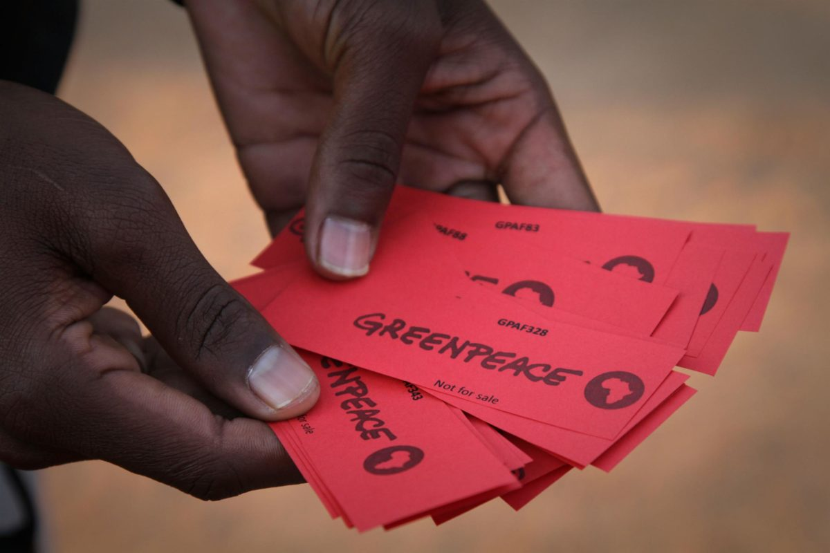 Tickets for the World Cup final match at the Jericho community center where the game will be shown on a big screen. The Jericho project, a solar powered public viewing area for the World Cup, was initiated by Greenpeace Africa, marrying entertainment with education and proving how solar power has to be the solution for South Africa's energy crisis.