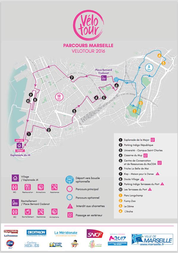 le parcours Marseille vélotour 2016, un trajet riche en lieux insolites